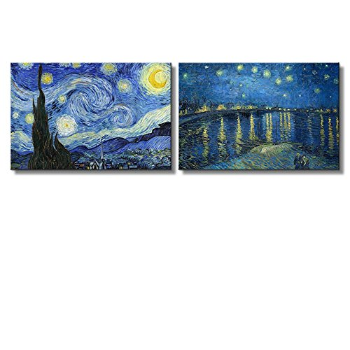 wall26 Starry Night & Over The Rhone River Canvas Prints Set of 2 -