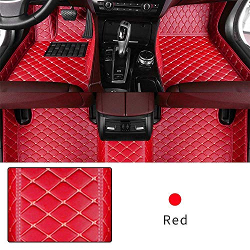 Car Floor Mat Custom Made For 95% of Car Models Full Coverage Interior Protection Waterproof Non-Slip Leather Mat Red