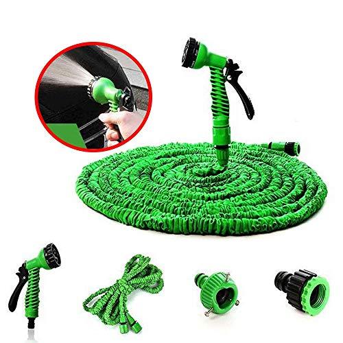Gartenschlauch Erweiterbares Schlauchrohr Flexibler Zauberschlauch Mit Multifunktions-Spritzpistole/Schlauch-Schnellanschluss - Gartenschlauchdüsen-Wasserpistolen-Kit (7,5-22,5 M),Grün,22.5M