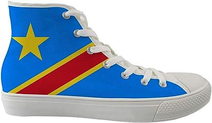 Owaheson Alta Parte Superior Lona Casuales De Skate Zapatos Zapatillas De Deporte Hombre Mujer Bandera República Democrática del Congo