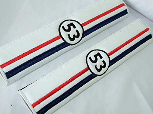 ONEKOOL HERBIE 53 Racing Style Pelle Bianca (Similpelle) Spallacci per cintura di sicurezza