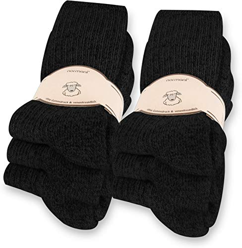 normani 6 Paar Norweger Socken mit Wolle Anthrazit, Wintersocken, Herrensocken mit Polstersohle Farbe Schwarz Größe 43-46