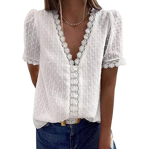 CARCOS Blusa de mujer de encaje, cuello en V, elegante, manga corta, de gasa, túnica, informal, blusa para mujer, tallas S-2XL Blanco S