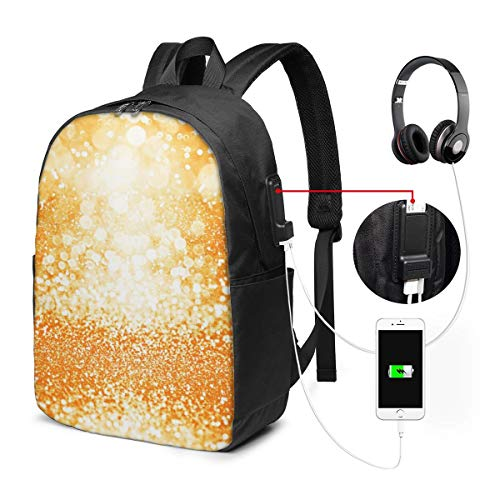 School College Backpack with USB Port Sparkle Confetti Happy Birthday,Business Laptop Backpack Water Resistant Bag Daypack Fits 15.6 Inch Computer Notebook Rucksack
