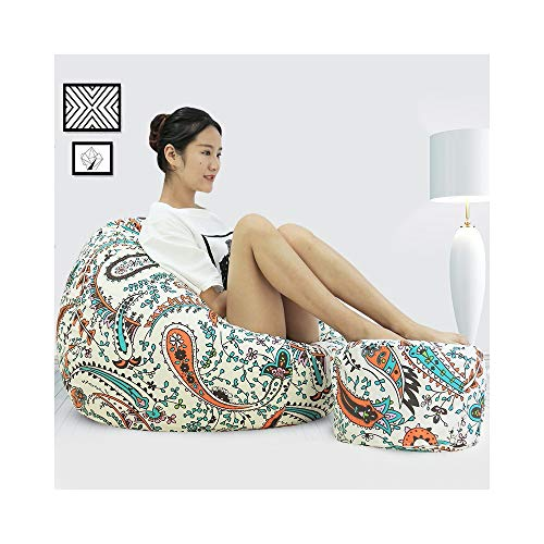 ZYLE Multi-color Lazy Sofa Tatami Bean Bag Single Cotton Seat Bedroom Living Room Fashion Wild Back Sofa Removable and Washable (Color : Paisley, Size : XL)