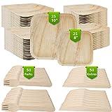 150Ct Eco Friendly Biodegradable Plates Palm Leaf Dinnerware, 25 10In Palm Leaf Disposable Plates, 25 8In Palm Leaf Plates, 50 Wood Forks, 50 Wood Knives