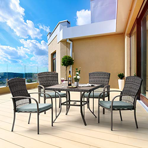 Pamapic 5 Piece Patio Dining Set, Outdoor Dining Table Set, Patio Wicker Furniture Set with Square Plastic-Wood Table Top and Washable Cushions for Patio Garden Poolside(Green)