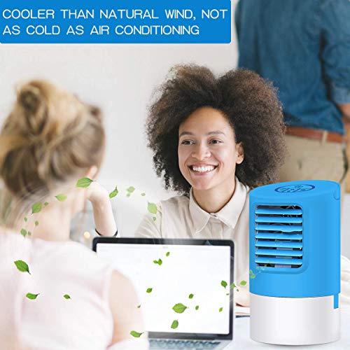 EEIEER Mini Klimaanlage 4in1 Tragbare Mobile Klimaanlage Luftkühler Ventilator Leise Tischventilator Tragbare Nebelventilator 18W Kleine Luftkühler Luftbefeuchter, Personal Mini Air Cooler (Blau)