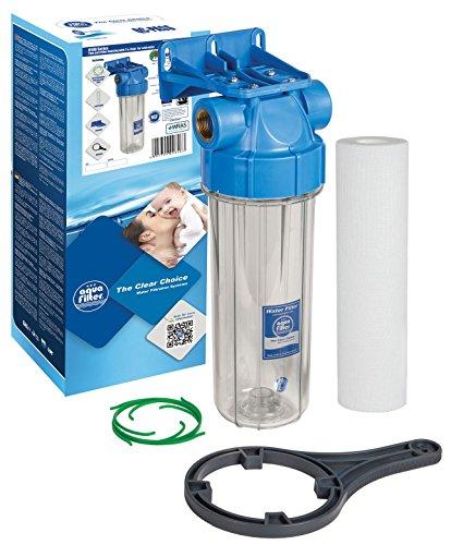 10  Aquafilter In-line Water Filter Housing Transparent 3 4  or 1 2 , Fits Standard 10  Cartridges (3 4 )