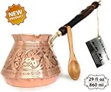 The Silk Road Trade - ACI Series (XX-Large) - Thickest Solid Hammered and Engraved Copper Turkish Greek Arabic Coffee Pot with Wooden Handle/Stovetop Coffee Maker,Jazzve,Cezve,Ibrik,Briki (29 fl oz)