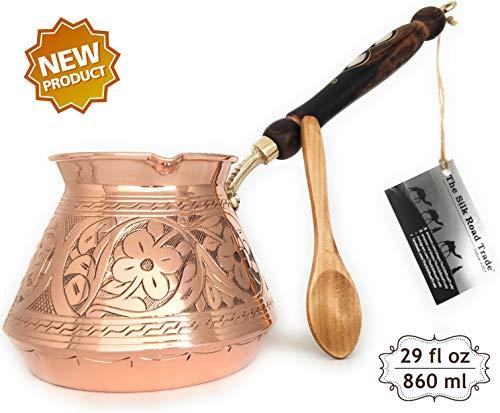The Silk Road Trade - ACI Serie - dickstes massives Kupfer gehämmert und graviert - türkisch-griechisch-arabische Kaffeekanne Cezve Ibrik Briki mit Holzgriff XX-Large kupfer