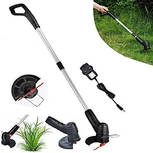 DHSM Electric Grass Trimmer Cordless Strimmer, Lightweight Garden Strimmer with Spare Plastic Blades, Lawnmower And Strimmer Set - for Garden Edge with Charger (UK Plug)
