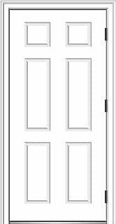 National Door Company ZZ364680L Fiberglass Smooth, Primed, Left Hand Outswing, Prehung Front Door, 6-Panel, 36'' x 80