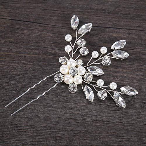 Handgemachte Silber Perle Strass Haarnadeln Hochzeit Haarzubehör Kopfbedeckung für Brauthaar Schmuck für Frauen, HP017