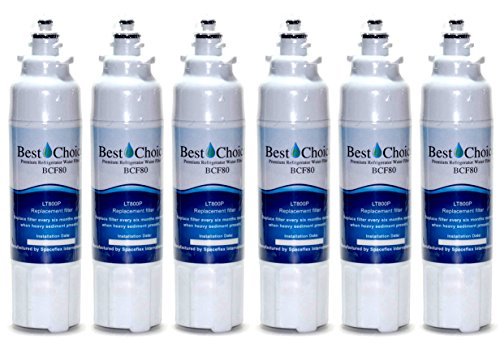 Best Choice Water Filters BCF80 Compatible With LG LT800P Certified Refrigerator Replacement Cartridge Fits ADQ73613401, ADQ73613402, Kenmore 9490, 46-9490, 469490 (5-Pack)
