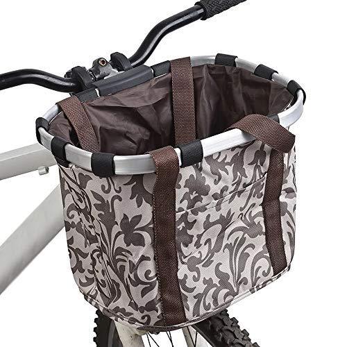 DIHOO Bicycle Bike Detachable Cycle Front Canvas Basket Carrier Bag Pet Carrier Aluminum Alloy Frame Pet Carrier Collapsible Bike Basket