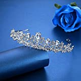 Minmin Zircon Crystal Wedding Tiara for Bride and Flower Girls, Princess Tiara Headband Pageant Crown Bridal Hair Accessories Jewelry for Women and Girls