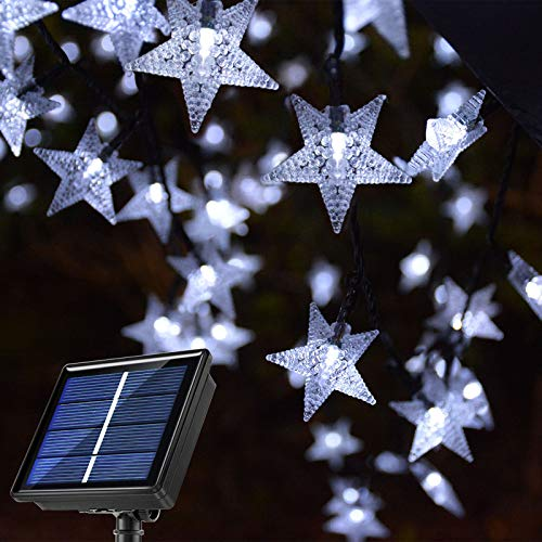 Ezzfairy Solar Garden String Lights, 55Ft 120 LED Cool White Solar Star Lights with 8 Modes, Waterproof Solar Fairy Lights for Garden, Patio, Backyard, Christmas, Party, Holiday