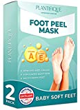 Foot Peel Mask - Vitamins Feet Peeling Mask 2 Pack - Dermatologically Tested, Cracked Heel Repair, Dead Skin Remover for Baby Soft Feet - Exfoliating Peel Natural Treatment by Plantifique