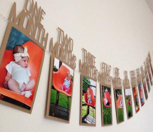 Istloho 1 Jahr Baby Ersten Geburtstag Girlande Bilderrahmen Postkarten Foto Bilder Bunting Banner Girlande Geschenk Dekoration zum Erstes Jahr Geburtstag Babyparty Taufe Babyshower