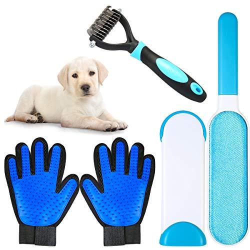 ZITFRI 4 Pezzi Set di Rimozione Peli per Animali Domestici 1 Paio di Guanto Spazzola da Massaggio di Cani Gatti 1 Animali...
