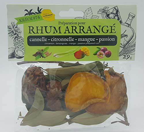 Préparation pour rhum arrange ile de la REUNION saveur CANNELLE - CITRONNELLE - MANGUE - FRUIT DE LA PASSION