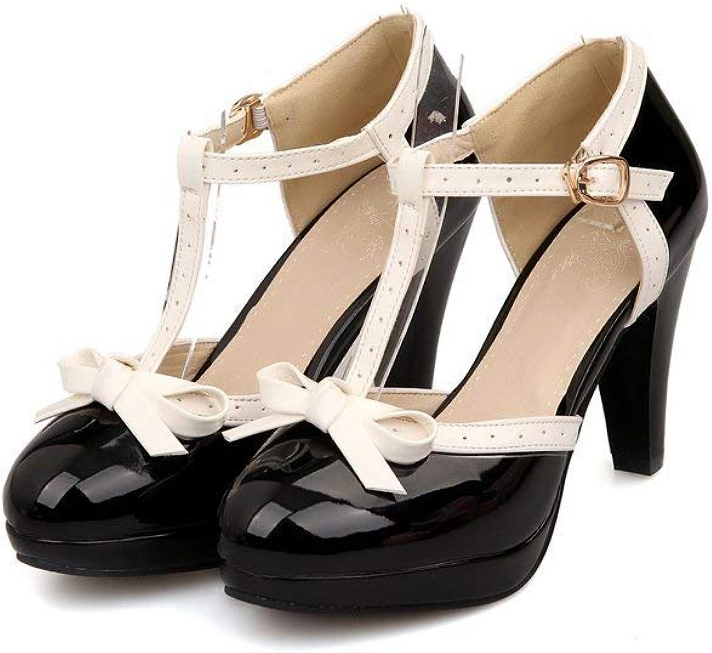 SUNNY Store Women's Almond Toe Comfortable Mid Kitten Heel Mary Jane Pump shoes