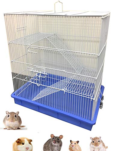 3-Story Ferret Chinchilla Sugar Glider Rats Mice Hamster Animal Cage with Tight 3/8-Inch Wire Body Prevent Escape and Stuck Cross Metal Shelves and Ladders Paw Safe