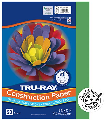 "Tru-Ray Heavyweight Construction Paper, Holiday Green, 9"" x 12"", 50 Sheets"