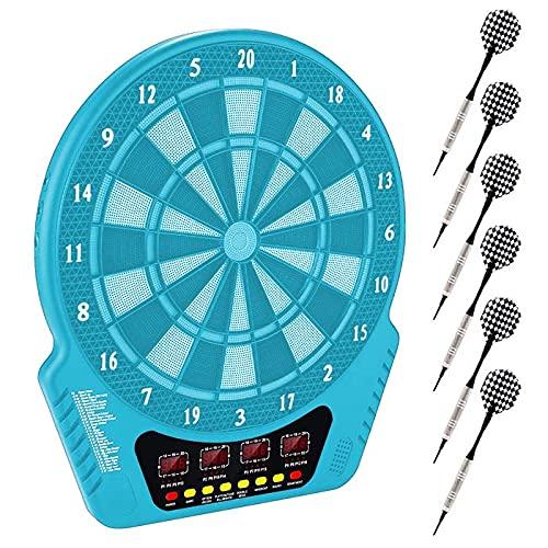 Elektronisch Dartscheibe Dartboard, Elektronische Dartboard mit 4 LED Beleuchteten Ziffern Dartscheibe mit 6 Sanft und 24 Pfeilkopf Dartscheibe mit Ladeadapter Geeignet für Partys Spieleabende (Blau)