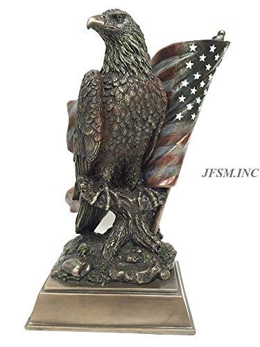 Veronese American Pride - Bald Eagle with Stars & Stripes Statue Sculpture