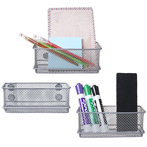 MyGift Antique Silver Tone Metal Mesh Magnetic Storage Bins, Office Supply Rectangular Organizer Baskets, Set of 3
