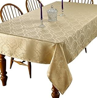 "Violet Linen European Damask Design Tablecloth, 60"" Round, Gold"