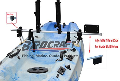 Brocraft Fishing Kayak Trolling Motor Mount Universal + Two Rocket Launching Rod Holder/Kayak Outboard Motor Bracket