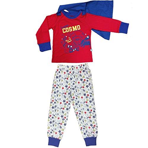 Petit Béguin - Pyjama garçon manches longues Super Cosmo + cape amovible - Couleurs - Rouge, Longueur des manches - Manches longues, Taille - 2/3 ans (92/98 cm)