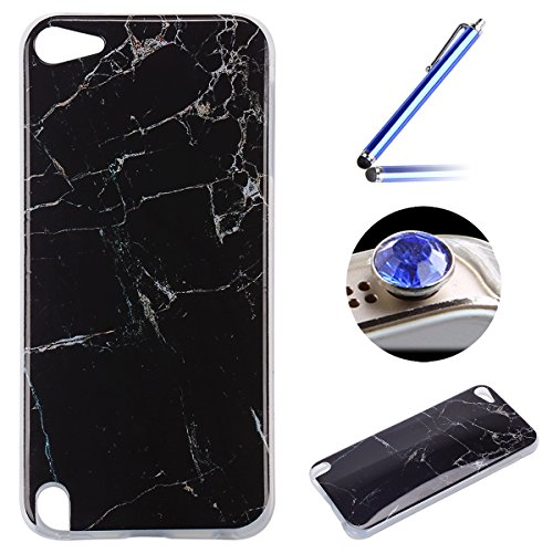 Etsue pour [ iPod touch 5/6 ] Doux Protecteur Coque,TPU Matériau Frame est Transparent Soft Cover pour iPod touch 5/6,Marbre Motif par Dessin de Mode Case Coque pour iPod touch 5/6 + 1 x Bleu stylet + 1 x Bling poussière plug (couleurs aléatoires) - Noir