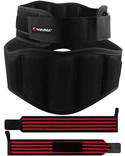 WIN.MAX Cinturón Lumbar Gimnasio,Cinturón Lumbar Gimnasio Ajustable para Hombres y Mujeres,Cinturones Pesas Levantamiento,Gimnasio Cinturón Peso Musculacion (Negro, L)