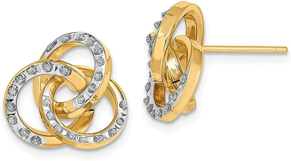 14k Yellow Gold Diamond Fascination Loveknot Post Stud Earrings Love Knot Fine Jewelry For Women Gifts For Her