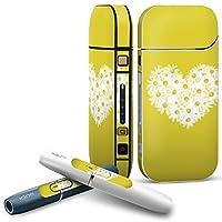 IQOS 2.4 plus 専用スキンシール COMPLETE アイコス 全面セット サイド ボタン デコ ハート 花 黄色 011751