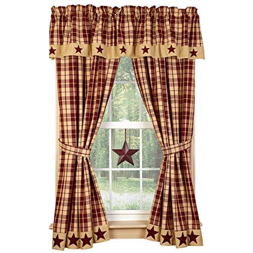 """Burgundy Farmhouse Star 63"""" Curtain Panels"""