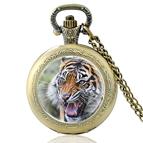 XTQDM Pocket watch,Tiger Pattern Vintage Quartz Pocket Watch Glass Dome Classic Men Women Pendant Necklace Hours Clock Best Gifts Bronze