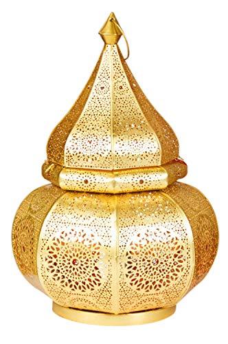 Orientalische kleine Tischlampe Lampe Malhan 38cm E27 | Marokkanische Tischlampen klein aus Metall, Lampenschirm Goldfarbig | Nachttischlampe modern, für Vintage, Retro & Landhaus Stil Design