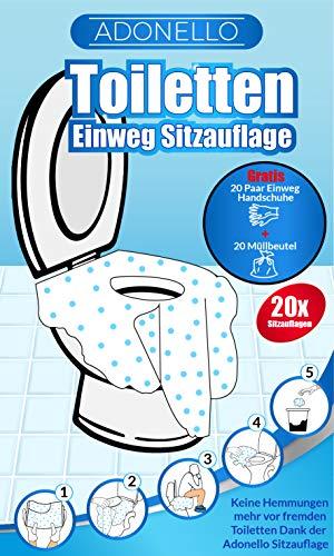 Adonello Toilette Sitz Auflage 20er Set, Einweg Toiletten Sitzbezug, 20 Handschuhe,Müllbeutel, Extra grosser XL WC-Sitz Hygienisch, Selbstklebend, Unterwegs, Einzeln Verpackt