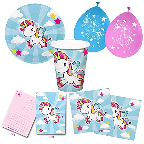 Unbekannt Set de fiesta de unicornio de 52 piezas, incluye platos, vasos, servilletas, invitaciones y globos.