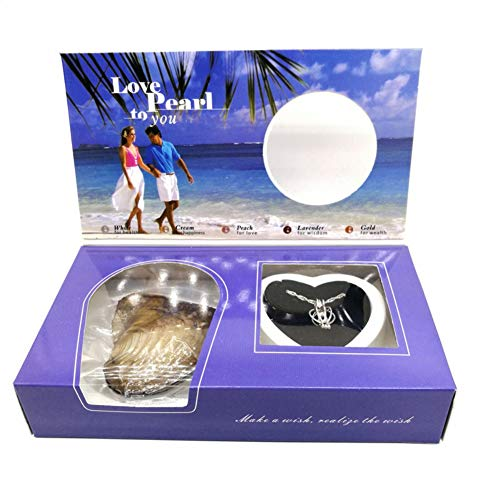 Sunshay Love Purity Wish Pearl Kit,Wish Kit with Pendant Necklace,Wish Pearl Kit Box Pearl in Oyster,DIY Creative Necklace Jewelry Gift Set,DIY Valentine's Day Necklace Jewelry Gift for Lover