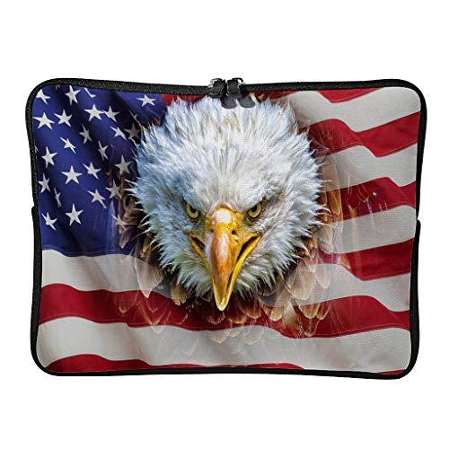 Ordenador portátil y tableta bolso de hombro águila calva y bandera de Estados Unidos pequeño lindo simple portátil manga para casual blanco 15 zoll