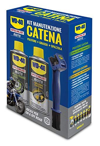 WD-40 Specialist Moto - Kit Manutenzione Catena Moto con 1 x Pulitore Catena 400 ml, 1 x Grasso Catena 400 ml e 1 x Spazzola Catena