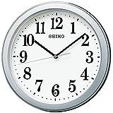 セイコークロック 掛け時計 02:銀色メタリック 本体サイズ:直径28×4.8cm 電波 アナログ コンパクトサイズ 値札なし BC404S