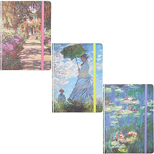 Taccuino con Copertina Rigida con i Classici Disegni di Monet con Elastici Abbinati, 3 Pezzi