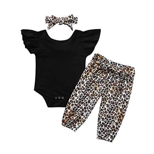 K-Youth Ropa Bebe Niña Conjunto Body Bebe Manga Larga Monos Bebé Reborn Mameluco Ceremonia Ropa Bebe Recien Nacido Niño Invierno Tops + Pantalones de Leopardo + Diademas Bebe Niña (Negro, 0-6 Meses)